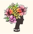 girl tropical flowers and watercolor vector image vector image