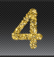 gold glittering number four shining golden vector image vector image