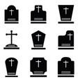 grave icon set vector image