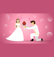 groom give flower bouquet to bride art vector image vector image
