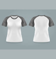 isolated front and back view on women t-shirt vector image vector image