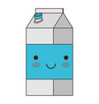 kawaii milk carton in colorful silhouette vector image vector image