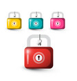 lock icons colorful locks set with keys isolated vector image