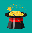 magic hat wand and gold coins vector image vector image