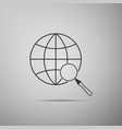 magnifying glass with globe icon isolated on grey vector image vector image