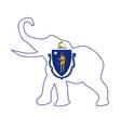 massachusetts republican elephant flag vector image vector image