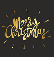 merry christmas gold inscription on a black vector image vector image