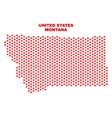 montana state map - mosaic of love hearts vector image vector image