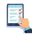 online survey internet surveying hands holding vector image
