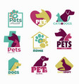 pets clinic and shelter isolated icons dog and cat vector image vector image