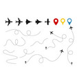 plane paths aircraft tracking planes vector image vector image