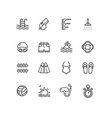 pool sign black thin line icon set vector image