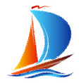 sailing yacht with no blue wave vector image vector image
