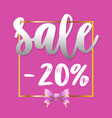 sale banner 20 off pink background vector image vector image