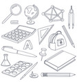 school doodle set stationery tools vector image