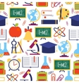 seamless pattern with colorful school icons vector image vector image