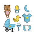 set baby shower boy tools elements vector image vector image