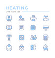 set color line icons heating vector image vector image