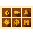 set of icons of sea subject in flat style vector image vector image