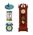 set old clocks sundial hourglass alarm clock vector image