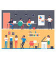 set workers characters in office interior vector image