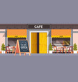 street cafe facade with we are open board urban vector image vector image