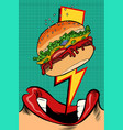 woman eating burger pop art style female mouth vector image vector image