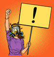 woman in gas mask protesting against polluted air vector image vector image