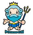 the sea and the water god poseidon character vector image
