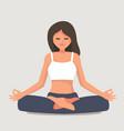 young girl yoga posing vector image
