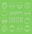 square frame made of linear easter eggs vector image