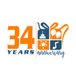 34 year gift box ribbon anniversary vector image vector image
