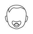 baby face with pacifier linear icon vector image