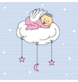 baby girl sleeping on a cloud vector image