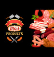 background with meat products of vector image