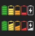 battery icon set isolated on black background vector image