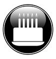 Birthday cake symbol button vector image