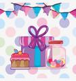 birthday candies cartoons vector image