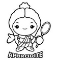 black and white aphrodite mascot the goddess of vector image