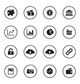 black flat finance and technology icon set vector image vector image