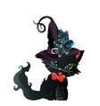 black witch kitten vector image vector image