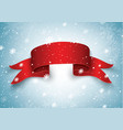 blank red realistic curved paper banner with snow vector image vector image