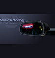 blind spot monitoring area zone system mirror car vector image