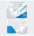 blue business corporate tri fold brochure template vector image