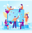 business people and a presentation in a flat vector image