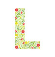 capital letter l green floral alphabet element vector image vector image