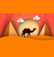 cartoon paper landscape camel cloud vector image