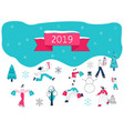 christmas and 2019 new year vector image vector image