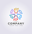 circle logo template six people raise their vector image