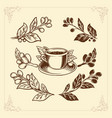 coffee set hand drawing vintage style premium vector image vector image